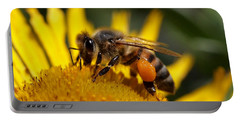 Honeybee At Work Portable Battery Charger by Rona Black