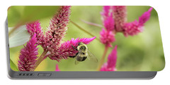 Honeybee Dining On Cockscomb Portable Battery Charger
