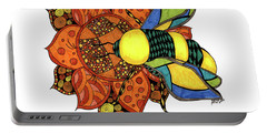 Honeybee On A Flower Portable Battery Charger