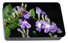 Portable Battery Charger featuring the photograph Honeybee On Golden Dewdrop II by Richard Rizzo