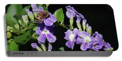 Honeybee On Golden Dewdrop II Portable Battery Charger by Richard Rizzo