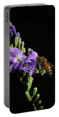 Honeybee On Golden Dewdrop Portable Battery Charger by Richard Rizzo