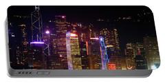 Hong Kong At Night Portable Battery Charger by Lynn Bolt