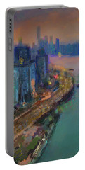 Hong Kong Skyline Painting Portable Battery Charger
