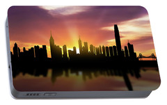 Hong Kong Skyline Sunset Chhk22 Portable Battery Charger by Aged Pixel