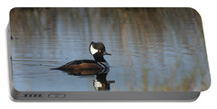 Hooded Merganser In The Early Morning Light Portable Battery Charger