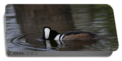 Hooded Merganser Preparing To Dive Portable Battery Charger