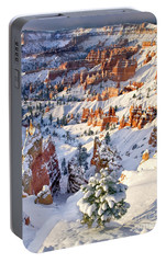 Portable Battery Charger featuring the photograph Hoodoos And Fir Tree In Winter Bryce Canyon Np Utah by Dave Welling