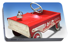 Portable Battery Charger featuring the photograph Hook And Ladder Peddle Car by Mike McGlothlen