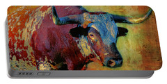 Portable Battery Charger featuring the digital art Hook 'em 2 by Colleen Taylor