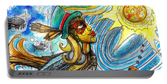 Portable Battery Charger featuring the painting Hooked By The Worm by Genevieve Esson