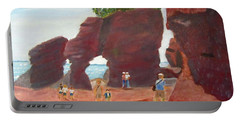 Portable Battery Charger featuring the painting Hopewell Rocks2 by Linda Feinberg
