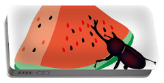 Horn Beetle Is Eating A Piece Of Red Watermelon Portable Battery Charger