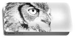 Horned Owl Pen And Ink Portable Battery Charger