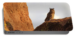 Portable Battery Charger featuring the photograph Horned Owl Perched At Sunset by Natalie Ortiz