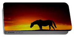 Horse At Sunset Portable Battery Charger