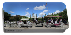 Portable Battery Charger featuring the photograph Horse Carriages by Steven Spak