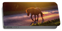 Horse Crossing The Road At Sunset Portable Battery Charger