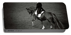 Horse Dressage - Black And White Portable Battery Charger