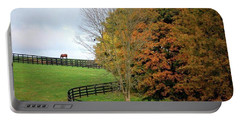 Horse Farm Country In The Fall Portable Battery Charger