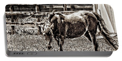 Horse In Black And White Portable Battery Charger