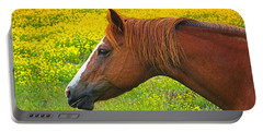 Horse In Yellow Field Portable Battery Charger by Wendy McKennon