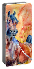 Horse On The Orange Background Portable Battery Charger
