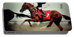Horse Race - Motion Blurred Art Photography Portable Battery Charger