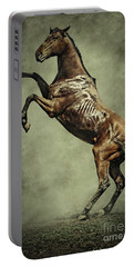 Horse Rearing Up On Dust Background Portable Battery Charger