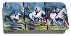 Portable Battery Charger featuring the painting Horse Three II by John Jr Gholson