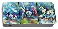 Portable Battery Charger featuring the painting Horse Three by John Jr Gholson