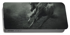 Horse Trotting In Morning Fog Portable Battery Charger