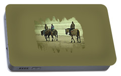 Portable Battery Charger featuring the photograph Horseback Riding On The Beach by Thom Zehrfeld
