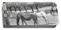Horses And Trees In Bloom Portable Battery Charger