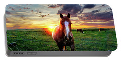 Horses At Sunset Portable Battery Charger