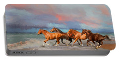 Horses At The Beach Portable Battery Charger