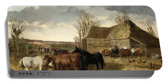 Horses Eating From A Manger, With Pigs And Chickens In A Farmyard Portable Battery Charger