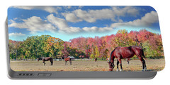 Horses Grazing At A Stable In Maryland Portable Battery Charger