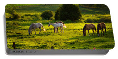 Horses Grazing In Evening Light Portable Battery Charger