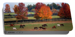 Horses Grazing In The Fall Portable Battery Charger