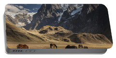 Horses Grazing Under Siula Grande Portable Battery Charger