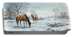 Portable Battery Charger featuring the digital art Horses In Countryside Snow by Martin Davey