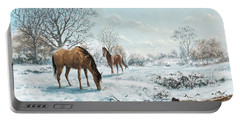 Horses In Countryside Snow Portable Battery Charger