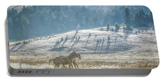 Horses In The Frost Portable Battery Charger by Keith Boone