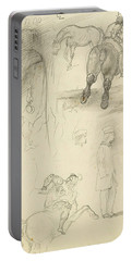 Horses Riders And A Young Man Portable Battery Charger