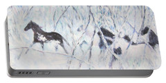 Horses Running In Ice And Snow Portable Battery Charger