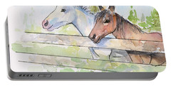 Horses Watercolor Sketch Portable Battery Charger