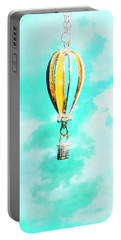 Hot Air Balloon Pendant Over Cloudy Background Portable Battery Charger