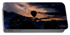 Hot Air Balloon Silhouette At Dusk Portable Battery Charger