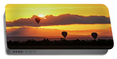 Hot Air Balloons In Surise Orange Africa Sky Portable Battery Charger